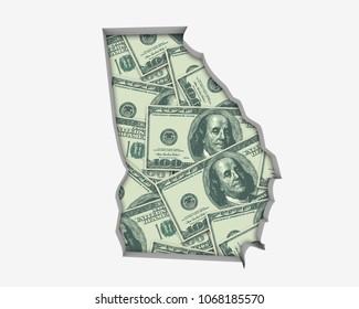 Georgia GA Money Map Cash Economy Dollars 3d Illustration
