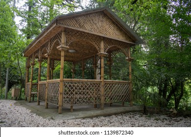 Georgia Imereti region Kutaisi botanical garden - Bamboo gazebo kiosk