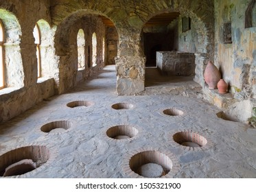 Georgia, Kvevri - vessels for making wine walled up in the ground in the premises of an ancient monastery