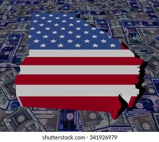 Georgia map flag on dollars illustration