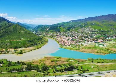 Georgia, mountain, view on river and city of Mtskheta. Selective focus.