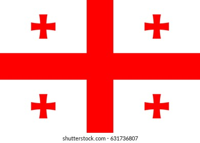 Georgia national five cross flag, red on white, symbolic element, patriotic symbol of country, flat  illustration