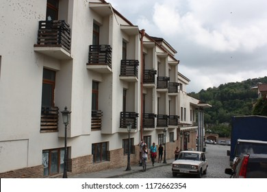 Georgia, Signagi (Sighnaghi). 08.28.2015. House with balconies in central street of medieval town Signagi (Sighnaghi), Kakheti region.