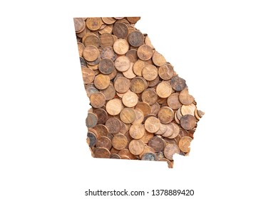 Georgia State Map and Money Concept, Piles of Coins, Pennies
