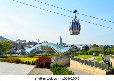 Georgia. Tbilisi. Bridge and cable car cabin