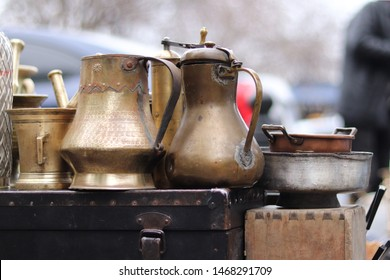 Georgia, Tbilisi - March 2019: unusual flea market with big assortment of antiques, vases, copper jugs and bric-a-brac on sale.  Old Market (Dry Bridge), ancient market in Tbilisi, Georgia