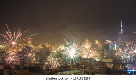 Georgia - Tbilisi. Meeting New 2018 year with fireworks over the central part of Tbilisi, capita city of Republic of Georgia in Caucasus region. 31.12.1017-01.01.2018