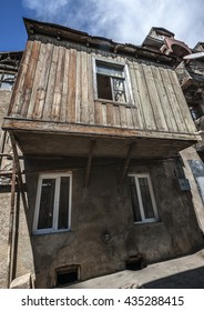 Georgia, Tbilisi , the old town area Avlabari. Famous Tbilisi balconies.
