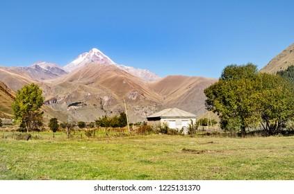 Georgia. The village of Sno. The top of Kazbeg.