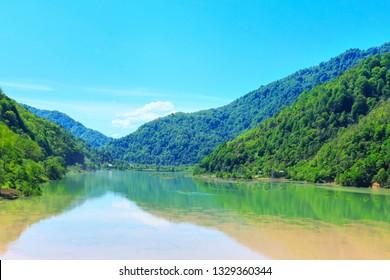 Georgian Adjara nature gem green mountain lake near Batumi, Georgia