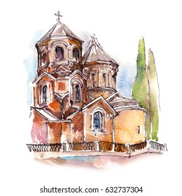 Georgian church building watercolor sketch illustration
