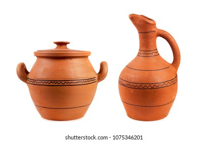 Georgian clay pottery on the white