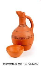 Georgian clay pottery on the white