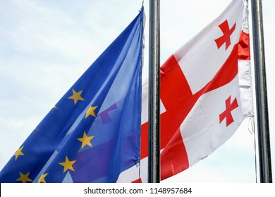 Georgian and Europe Union flags