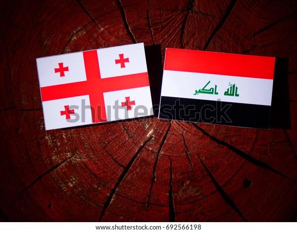Georgian flag with Iraqi flag on a tree stump isolated