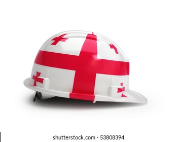 Georgian flag on construction helmet