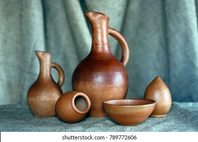 Georgian handmade national wine pottery, named Doqi, Qvevri and Piala.