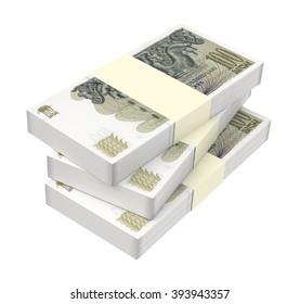 Georgian lari bills isolated on white background. Computer generated 3D photo rendering.