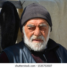 GEORGIAN MILITERY HIGHWAY GEORGIA 09 15 19: Old georgian man portrait. The state pension is just ($69) a month, which many  elderly people say is barely enough to cover basic necessities.