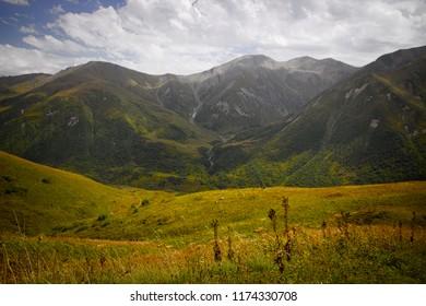 Georgian Mountains landscape on the way from Mestia to Ushguli.