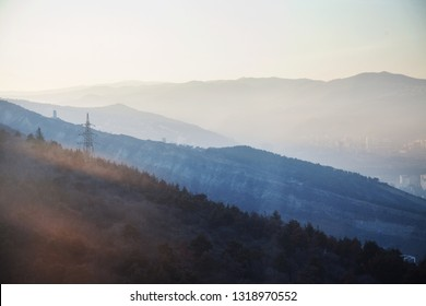 Georgian Mountains Silhouettes Sunset Light Landscape Panorama View Romantic hills air perspective in Tbilisi