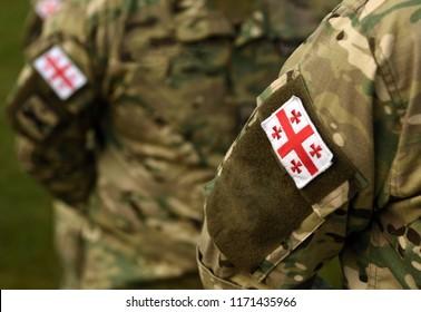 Georgian patch flag on soldiers arm. Georgia army uniform. Georgia troops