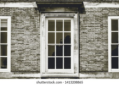 Georgian Sash Window in black and white tone, horizontal photography split toning