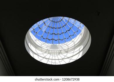 Georgian skylight from an English ballroom. A domed skylight made of glass from an English ballroom.