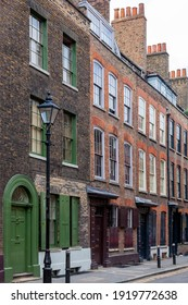 Georgian terraced town house in Spitafields London once the home of a wealthy Huguenot silk merchant and is a popular travel destination tourist attraction landmark of England UK stock photo image