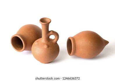 Georgian traditional decorative jugs for wine on white background, isolated