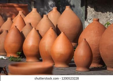 Georgian traditional jugs kvevri for wine, outdoor.