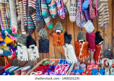 Georgian traditional puppets of man in hat papaha at the market in Tbilisi, Georgia