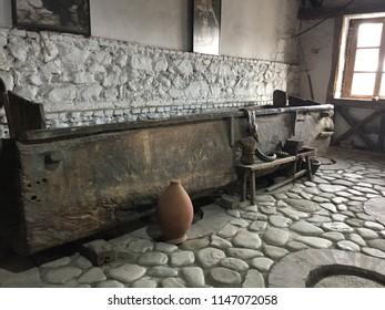 Georgian winery. Kvevri buried underground - traditional winemaking method. Cellar for storing wine. Georgia.