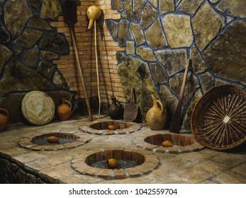Georgian winery: traditional winemaking method - kvevri digged underground