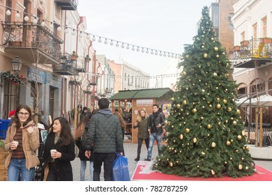 Georgia-Tbilisi.People in the center of Tbilisi. A walk before the new year 2018 near Christmas tree.12.28.2017.