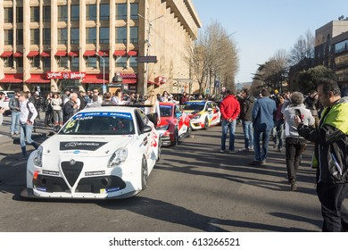 Georgia-Tbilisi.People at the exhibition of modern sports cars on Rustaveli Street.3/30/2017.