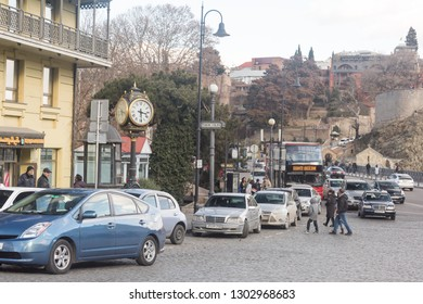 Georgia-Tbilisi.People tourists go for a walk in the center of city-Tbilisi in warm weather.03/02/2020