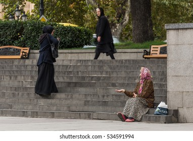 Georgia-Tbilisi.Poor grandmother to ask for money for bread on Liberty Square.09/28/2016.