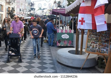 Georgia-Tbilisi.Tourists are walking in the center of Tbilisi.08/10/2017 year.