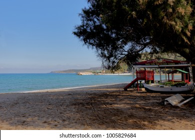 GEORGIOUPOLIS, Crete, Greece - November 6, 2015: A family taverna beside a white sand beach in the village of Georgioupolis, Apokoronas, Crete.