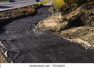 Geotextile material used as foundation base for road construction