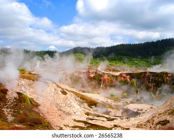 Geothermal Activity of Karapiti (Craters of the Moon), Wairakei Natural Thermal Valley near Taupo, New Zealand