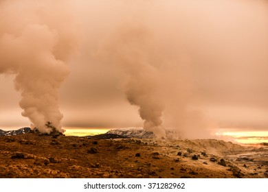 Geothermal activity in volcanic area on Mars planet surface