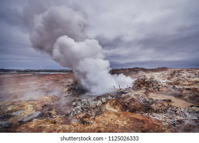 Geothermal Area called Gunnuhver located at Reykjanes Peninsula in Iceland
