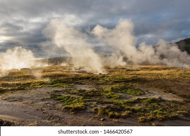 Geothermal Area Geyser Strokkur at Reykjanes Peninsula in Iceland