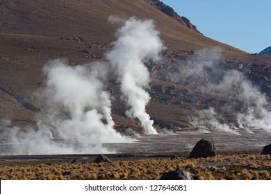Geothermal area revealing thermal energy