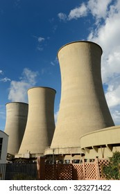 Geothermal energy production towers in Larderello-Tuscany Italy