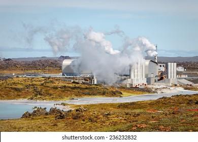 Geothermal field of Gunnuhver, Reykjanes Geothermal Power Plant, Iceland