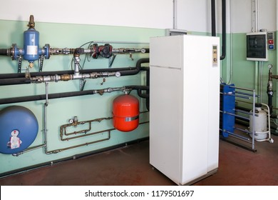 Geothermal heat pump for heating in the boiler room