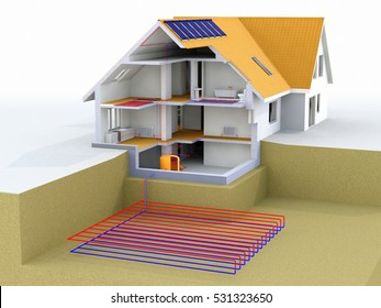 Geothermal Power House With Solar Panels, Geothermal Heating, Alternative Geothermal energy, Under Floor Heating Systems, Renewable Energy Home Concept - 3D Rendering